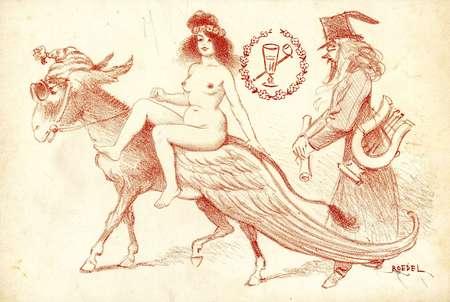 Femme sur un âne ailé
