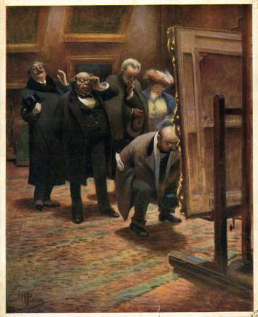 Hommes examinant un tableau
