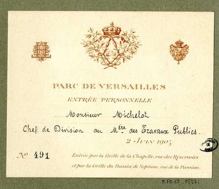 Parc de Versailles : entrée personnelle