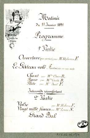 Matinée du 11 janvier 1891 : programme