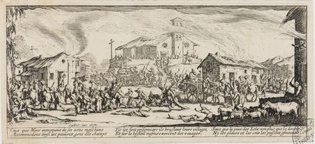 Le pillage et l'incendie d'un village