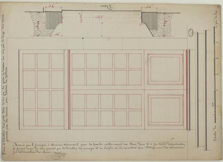 Plan et élévation d'une porte vitrée de dix piés  dix pouces de hauteur su…