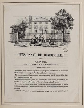 Pensionnat de demoiselles dirigé par Mlles Oster, rue du Crosne, n°9, à Na…