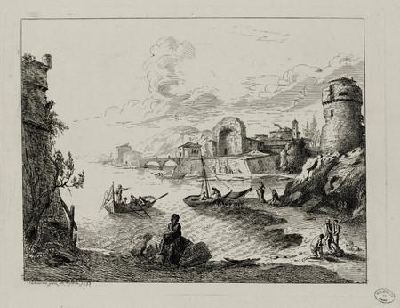Vue d'un port, paysage de mer