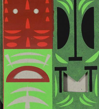 Tikis de Polynésie rouge et vert