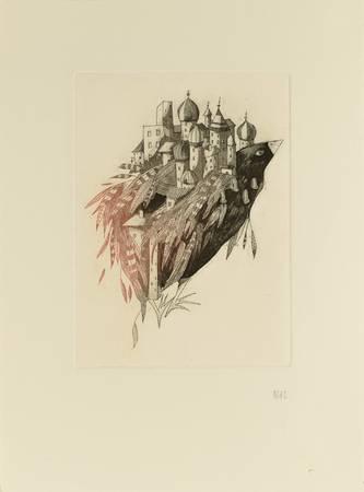 Île volante sur oiseau