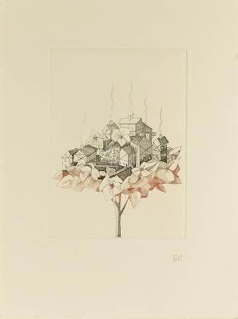 Île volante sur fleur