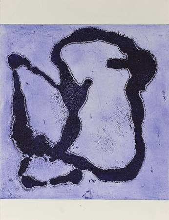 Gravure noire sur fond bleu