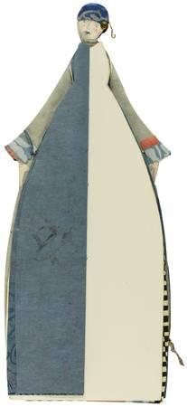 La couturière et sa robe bleue et blanche