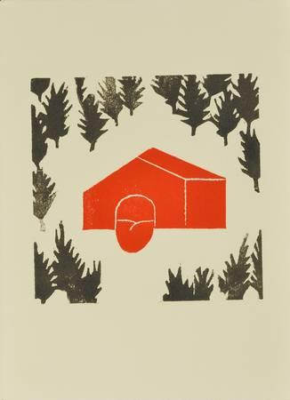 Une maison rouge dans la forêt