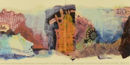 Une page de peinture et de collage de carte et ticket