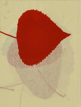 Une feuille de couleur rouge