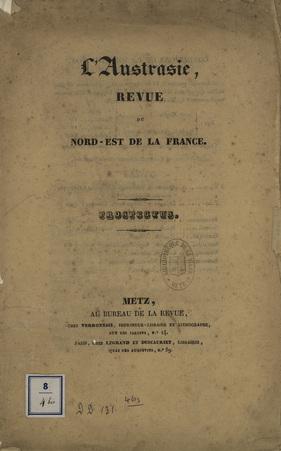 L'Austrasie, Revue du Nord-Est de la France - Prospectus