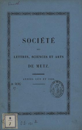 Société des Lettres, Sciences et Arts de Metz - Années 1819 et 1820