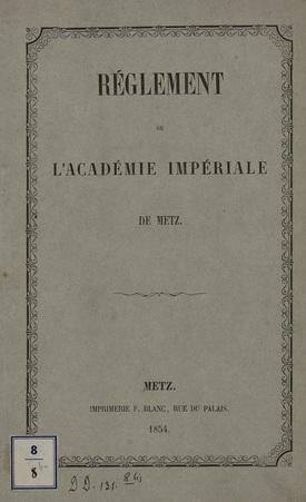 Réglement de l'Académie Impériale de Metz