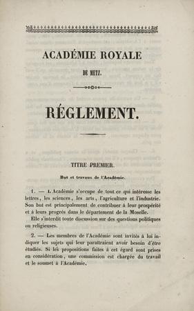 Académie Royale de Metz – Réglement