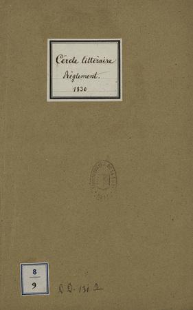Cercle Littéraire - Règlement - 1830