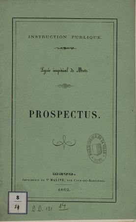 Instruction Publique - Lycée Impérial de Metz - Prospectus