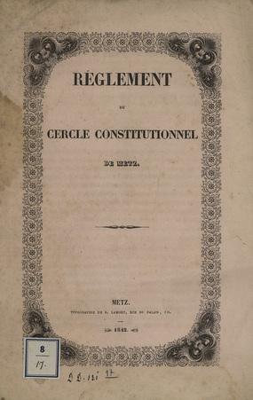 Règlement du Cercle Constitutionnel de Metz