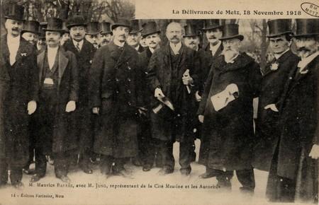 La délivrance de Metz,18 novembre 1918 Maurice Barrès, avec M. Jung et les…