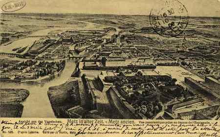 Metz ancien. Vue panoramique prise au dessus de l'esplanade