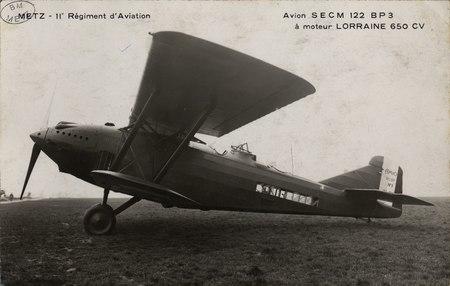 Metz. 11e régiment d'Aviation Avion SECM 122 BP3 à moteur LORRAINE 650CV