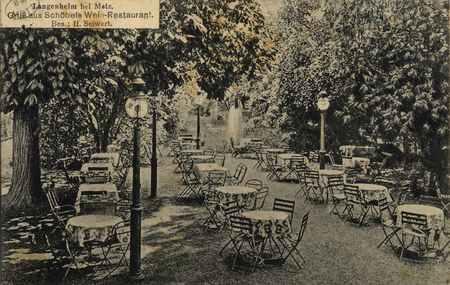 Langenheim bei Metz. Gruss aus Schöbels Wein-Restaurant. Bes. : H. Seiwert