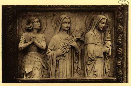 Montigny-les-Metz. Église. - Détail du Banc de Communion. Sainte Jeanne d'…