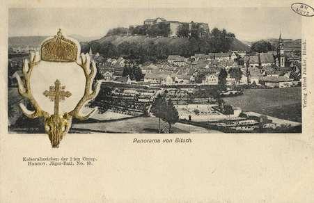 Panorama von Bitsch. Kaiserabzeichen der 2 ten Comp. Hannov. Jäger-Batl. N…