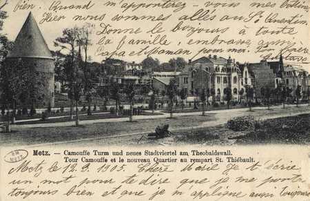 Metz. Tour Camoufle et le nouveau Quartier au rempart St. Thiébault
