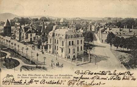 Metz. Das Neue Villen-Viertel mit Anlagen und Camouffrlturm. Le Nouveau qu…