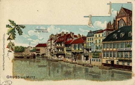 Gruss aus Metz Felsenstrasse. Rue des Roches.