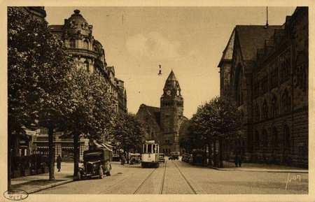 Metz (Moselle). Rue Gambetta et Gare Centrale