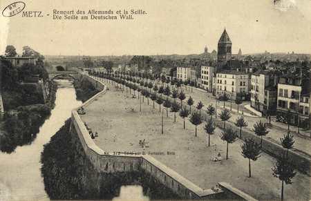 Metz. Rempart des Allemands et la Seille. Die Seille am Deutschen Wall