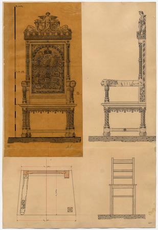 Coupe d'une chaise pour la cathédrale de Metz