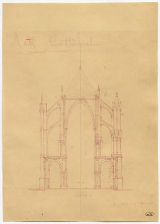 Coupe latérale sur les dernières travées de la nef de la cathédrale de Metz