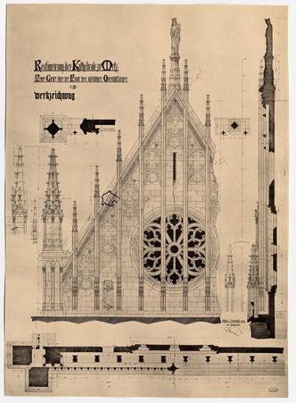 Restauration de la cathédrale de Metz. Nouveau pignon en haut du transept …