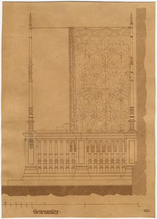 Vue latérale de la clôture du chœur