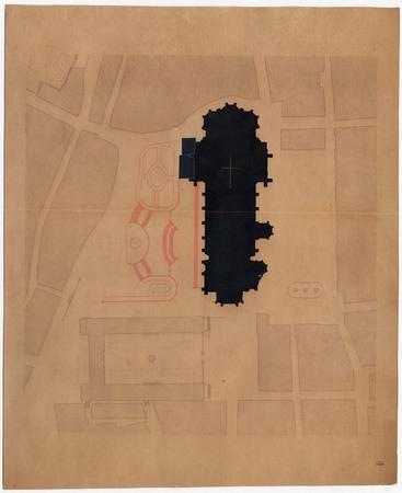 Plan représentant la cathédrale de Metz pendant les travaux de restauration