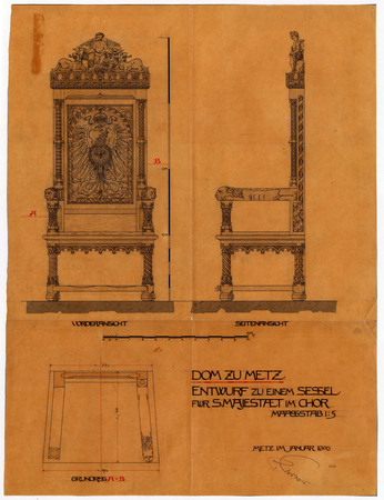 Cathédrale de Metz. Conception d'une chaise pour Sa Majesté dans le chœur