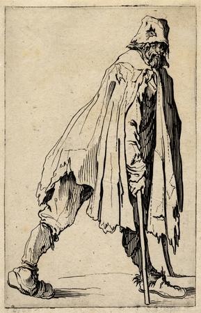 Les Gueux: Le mendiant aux béquilles coiffé d'un bonnet