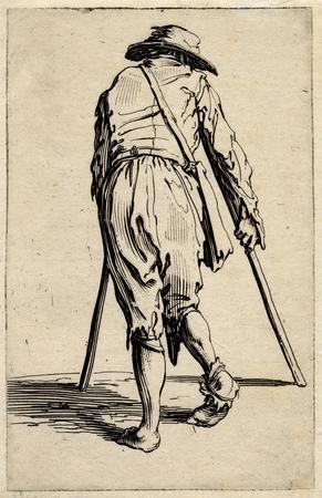 Les Gueux: Le mendiant aux béquilles coiffé d'un bonnet et vu de dos