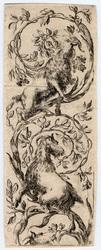 Ornamenti o grottesche: Deux chèvres grimpent sur une branche ornementale