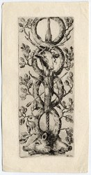 Ornamenti o grottesche: Deux têtes de sangliers au bas; un épieu, un carq…