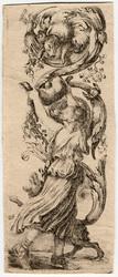 Ornamenti o grottesche: Une jeune fille, vue de dos, tient élevé au-dessu…