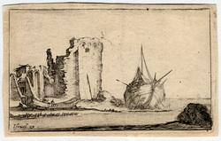 Caprice: Marine, à droite une galère, et à gauche une barque