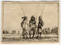 Caprice: Trois soldats debout, leur pique à la main