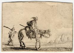 Caprice: Un soldat à cheval et un autre à pied qui le suit