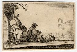 Caprice: Deux pèlerins assis et un paysan couché, à plat ventre