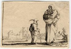 Caprice: Une pauvre femme portant dans ses bras un enfant parlant avec un…
